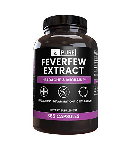 Pure Feverfew Extract (365 Capsules) Traditional, Natural & Potent, Gluten-Free (480 mg Serving)