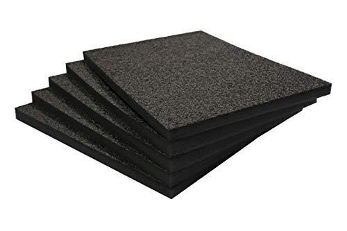Shadow Foam Easy Peel (600mm x 420mm) | espuma personalizable para organizar cajas de herramientas (Paquete de cinco (Profundidad de 30mm), Negro completo)