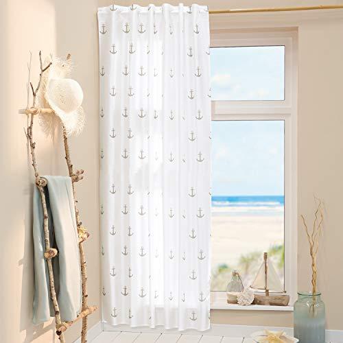 Delindo Lifestyle® Gardine Anker maritim, 1 Stück, verdeckte Schlaufen oder Kräuselband, modern weiß transparenter Vorhang, Schlaufenschal 140x245 cm