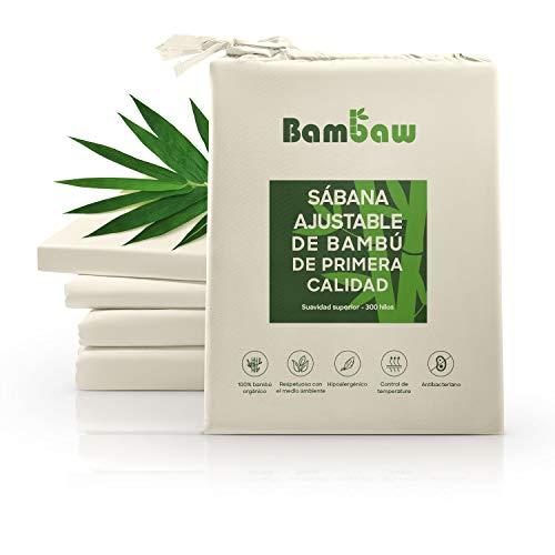 Bambaw Sábana Bajera de Bambú | Suave y Lujosa | Fitted Sheet | Tejido de Microfibra Bambu | Bed Sheets | Sostenible | Sábana Hipoalergénica | Transpirable | Beige - 90x190