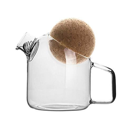 Cabilock Jarra de Vidrio con Tapón de Corcho Tetera de Té de Vidrio Jarra de Té Helado Jarra de Agua con Mango para Agua Fría Café Jugo Bebidas 500Ml