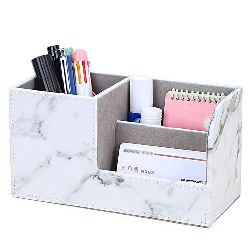 KINGFOM Büro Schreibtisch Organizer PU Leder Speicherabteil PU Leder Stiftebox Stifteköcher Bürobedarf (Gray Marble Pattern)