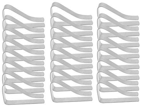 MZMing [24 Stück] Tischtuch Klammer Edelstahl Tischabdeckungsklemmen Tischdecke Clips 55mm Große Mund Einstellbar Tischtuch Clips - Silber
