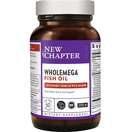 New Chapter Wholemega Fish Oil Supplement  Wild Alaskan Salmon Oil with Omega3  Astaxanthin  Sustainably Caught  180 Count Packaging May Vary