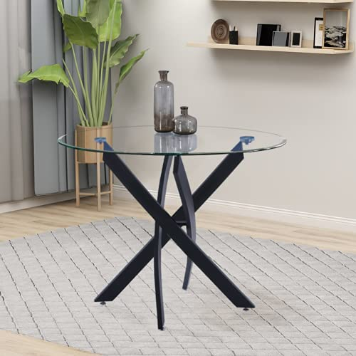 GOLDFAN Round Glass Dining Table Modern Design 80cm Kitchen Table With Chromed Legs For Dining Room Living Room Office