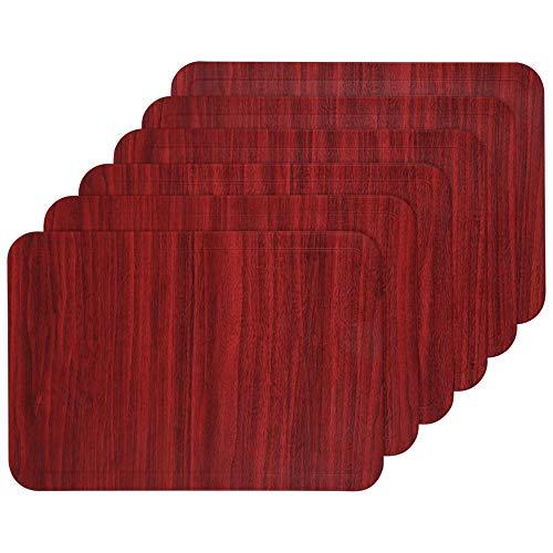 U'Artlines 6er Set Platzset,Tischsets Abwischbar Weihnachtsdeko Rote Abwaschbar Platzdeckchen aus PU Faux Leder