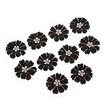 10 Unids Multicolor Flores de Margaritas de Aleación Botón de Flor de Rhinestone para Fabricacion de Pendiente/Pulsera - negro + rhinestone
