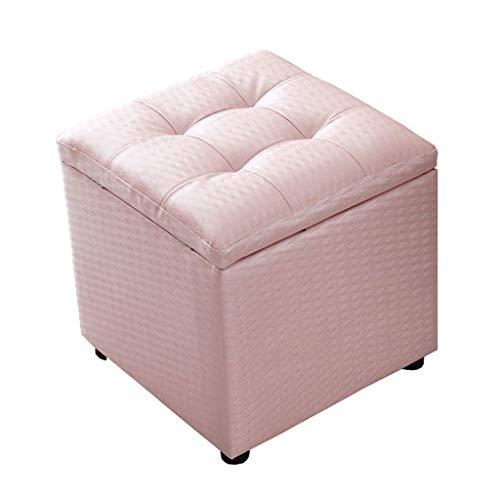 Mode PU opbergkruk Cubes Ottoman poef veranderen schoen kruk voetenbank ruimtebesparende opslag speelgoedkist lage bank kruk, max. belasting 150 kg, zeer elastische sponsvulling (kleur: wit) roze