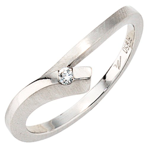 Ring Damenring 950 Platin teilmattiert mit Diamant Brillant 0,03ct. Platinring, Ringgröße:Innenumfang 54mm ~ Ø17.2mm