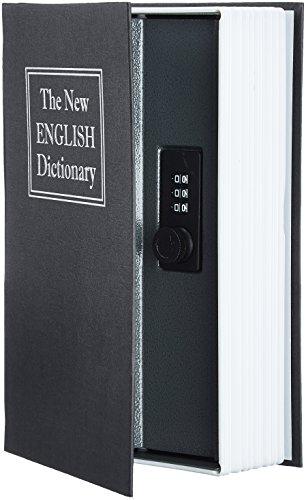 Amazon Basics - Caja de seguridad en forma de libro - Cerradura con combinación - Negro