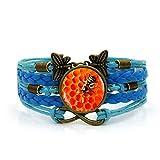 Pulsera tejida, cuerda azul, panal rojo, geometría hexagonal, arte, tiempo, pulsera de piedras...