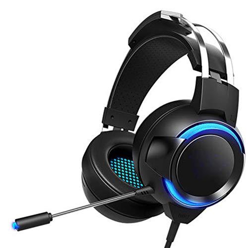 QWEDSA Jeu de Direction E-Sports Headset 7.1 Position par Rapport au Son d'écoute, unité de Son Surround 50MM, Rayon de tête Suspendu et léger, agréable à Porter, avec Microphone Rotatif à 360 °.-2