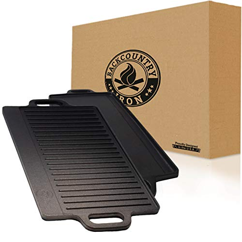"""Backcountry Cast Iron Skillet 20x9"""" (Large Reversible Grill/Griddle, Pre-Seasoned for Non-Stick Like Surface, Cookware Oven/Broiler/Grill Safe, Kitchen Deep Fryer, Restaurant Chef Quality)"""