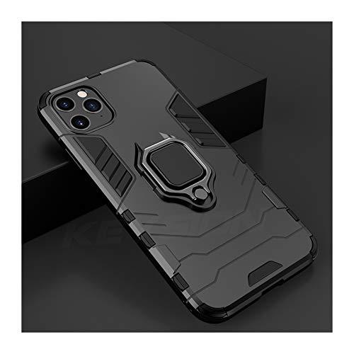 Goplnma Funda de Armadura a Prueba de Golpes para teléfono 11 Pro 11 Pro Tapa Trasera de teléfono MAX para teléfono 11 SE 2020 XS MAX 5 6S 7 8 Plus XR (Color : Black, Material : For iPhone SE 2020)