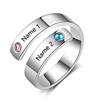 Love Jewelry Personalized Spiral Twist Ring with 2 Round Simulated Birthstones Custom Engraved Names Promise Rings for Women (Silver)