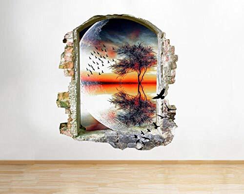 3D Wandaufkleber Sunset Planet Tree Futuristische Fenster Wandtattoo 3D Kunst Aufkleber Vinyl Zimmer
