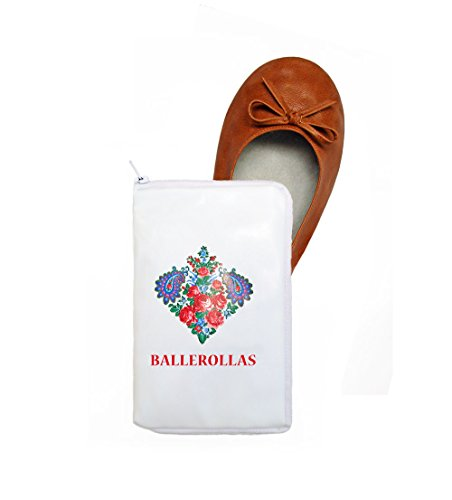 BALLEROLLAS Faltbare Ballerinas in braun - Afterparty Schuhe - Wechselschuhe - Innensohle 100% Leder - Obermaterial Kunstleder, Gr. 37/38