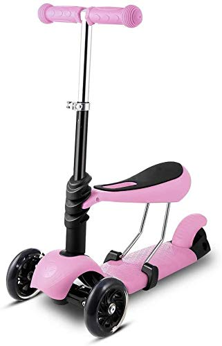 HFJKD Kindersteppen 3 wielen Kick Scooter met stoel Verstelbare hoogte Kinderstep Fiets met LED Light Up Wheels kinder skateboard