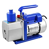 FlowerW 6CFM 2 Stage Air Vacuum Pump AC Refrigeration Kit 1/2 HP HVAC Combo Air Conditioning Refrigeration Low...