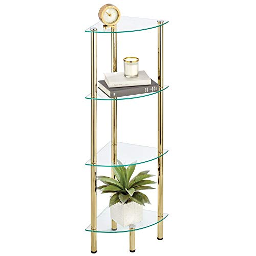 mDesign Estante esquinero con 4 baldas – Estante de Metal y Cristal en Esquina de diseño Moderno – Compacta estantería Decorativa para baño, despacho, Dormitorio o salón – latón y Transparente