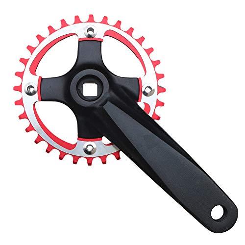 GANOPPER 170mm Mountain Bike Crankset MTB 1X Single Speed Narrow Wide Teeth Chainring 32T Red Road Bike Crank Arm Set Bolts