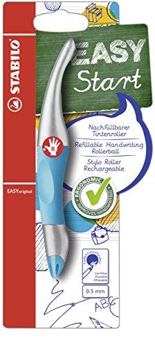 Ergonomischer Tintenroller für Rechtshänder - STABILO EASYoriginal metallic in neonblau/metallic - Einzelstift - Schreibfarbe blau (löschbar) - inklusive Patrone