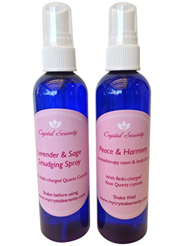 Crystal Serenity Sprays Duo: Includes Peace & Harmony Aromatherapy Spray and Lavender & Sage Smudging Spray