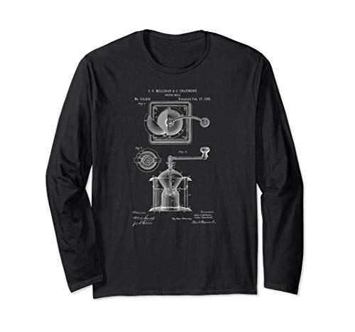 1885 Coffee Mill Grinder Patent Print Coffee Lover Gift Long Sleeve T-Shirt