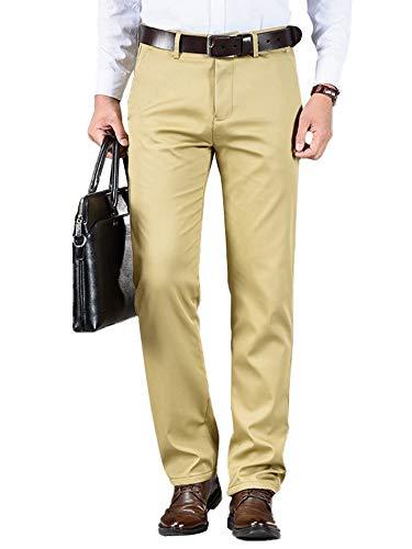 HUANG Pantalones de oficina de negocios de invierno con parte delantera plana de ajuste delgado de cintura alta formal llano traje pantalones de vestir