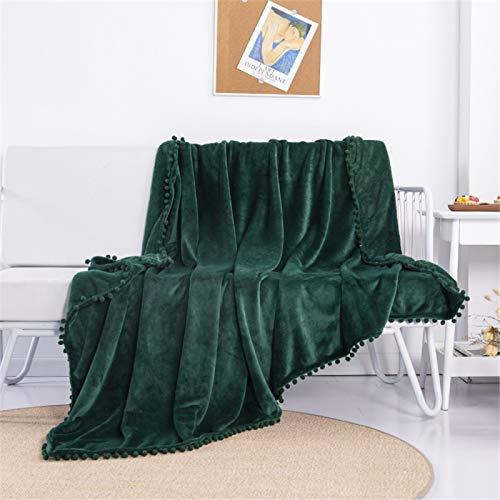 YUNSW Flannel Blanket Tassel Blanket Thickened Office Nap Blanket Warm Sofa Cover Blanket