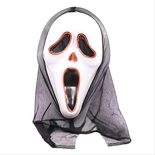 YKZZLDX Halloween Horror Skull LED Mscara de gritos Que Brilla intensamente Party Fright EL Mscara de luz fra