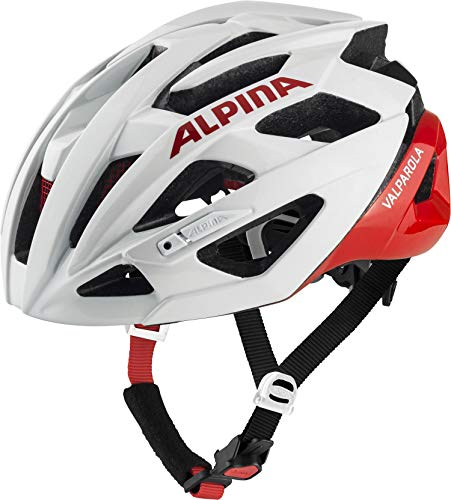 ALPINA Unisex - Erwachsene, VALPAROLA Fahrradhelm, white-red gloss, 55-59 cm