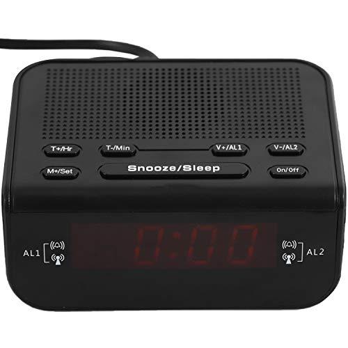 Cuasting Radio Wecker Digitaler Radiowecker mit Schalfen Timer EU Stecker Dimmer SchllFchen LED Anzeige und Batterie Sichern Funktion für Schlafzimmer, BüRo Tisch und Schreibtisch