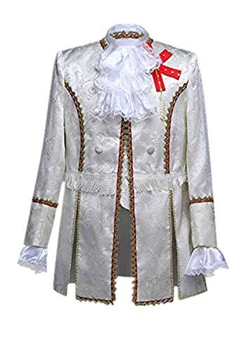 KPILP Herren Kostüm Set Steampunk Gothic Jacke Waffenrock Anzughosen Männer Gericht Kostüm Militärkleid Retro Vintage Anzug Leistungen Karneval Anzug Prinz Kostüm