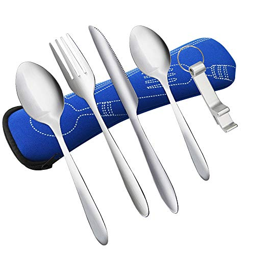 KBNIAN 5 Pcs Portable Cutlery Set with Knife Fork Spoon Bottle Opener Stainless Steel Reusable Dinnerware Picnic Cutlery Outdoor Cutlery Travel Set with Case for Travel Outdoor Camping Picnic Fishing