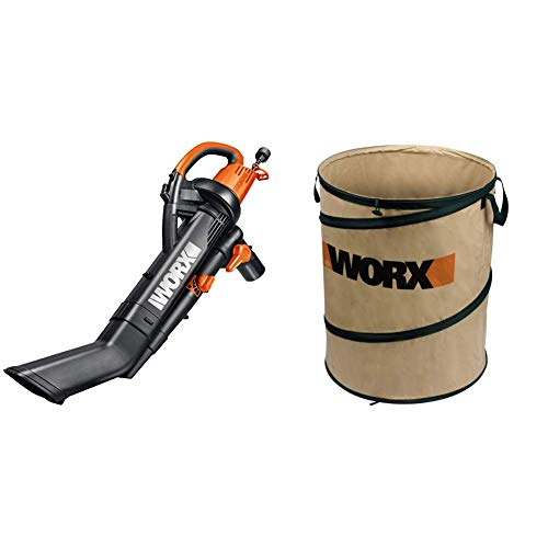 Worx TRIVAC 12 Amp Yard-in-One Blower/Mulcher/Vacuum with 210 MPH / 350 CFM Output, Includes 10 Gallon Bag – WG505 with Landscaping 26-Gallon Spring Bucket Yard Bag