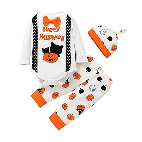Conjunto de Halloween para bebés, niños, niñas, Halloween, ropa estampada, calabaza, pelele, pantalones, sombrero., Blanco, 9-12 meses