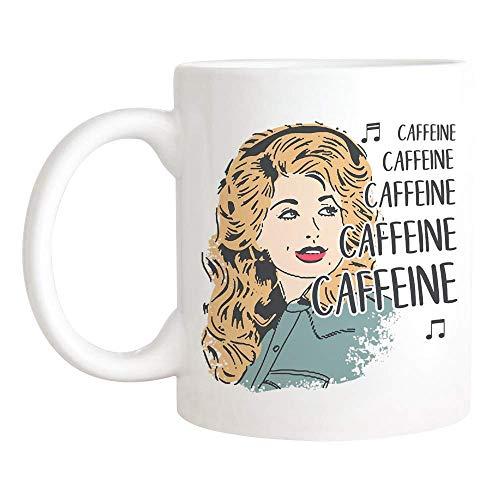 N\A D.o.l.l.y P.a.r.t.o.n Caffeine Jolene Mug, Taza de café de cerámica de 11 oz/Taza de té