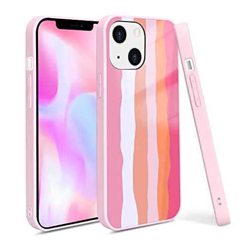 FYY Cover per iPhone 13 6.1'' 2021,Custodia per telefono in silicone liquido arcobaleno Sottile,morbida e robusta Assorbimento degli urti contro i graffi per iPhone 13 Custodia 5G 6,1'',Rosa