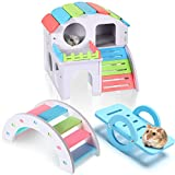 Skylety 3 Pieces Fun Hamster Toys Include Wooden Hamster House, Rainbow Bridge, Hamster Seesaw Toy DIY Wooden Exercise Play Toys for Small Hamsters Mice Gerbils and Other Pets (Large)