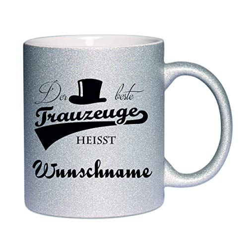 Crealuxe Glitzertasse (Silber) Der Beste Trauzeuge heißt. (Wunschname) - Kaffeetasse, Bedruckte Tasse mit Sprüchen oder Bildern, Bürotasse,