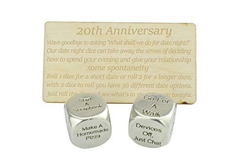 20 Year Anniversary Metal Date Night Dice - Create a Unique 20th Anniversary Date Night