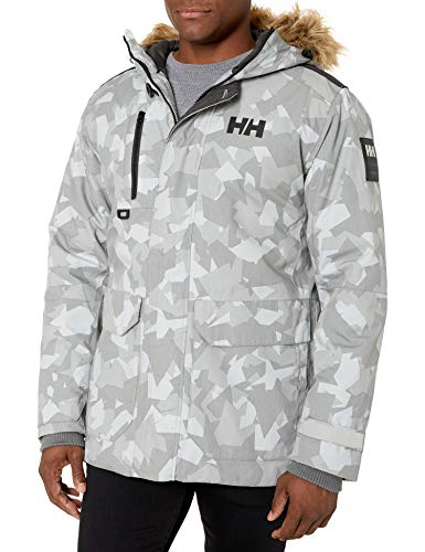 Helly Hansen Men's Svalbard Hooded Waterproof Windproof Breathable Insulated Winter Parka Coat, 971 Quiet Shade Camo, Small