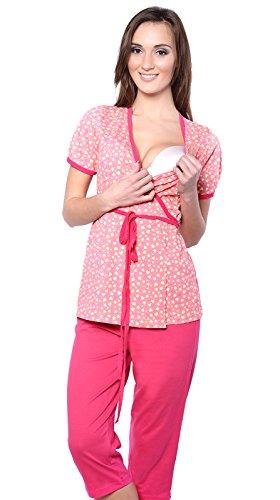 2 en 1 Maternité/Allaitement 100% Coton Pyjama a 2 Pieces 5001 (EU 42, Abricot/Rouge)
