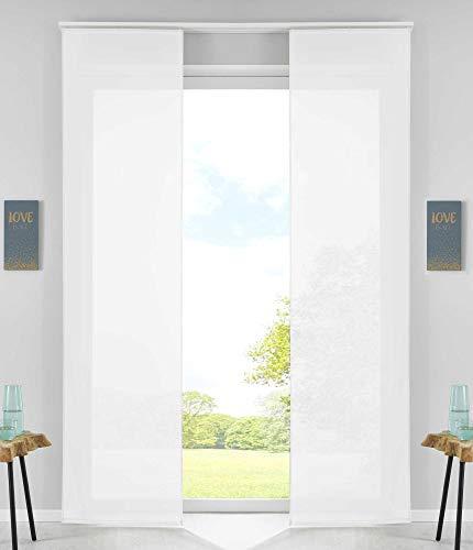 2er Set Schiebegardinen Flächenvorhänge Vorhang Gardine Schiebe HxB 245x60 cm Weiß Komplett mit Paneelwagen Beschwerungsstange, 85589N2