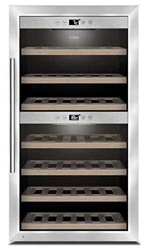 CASO WineComfort 660 Smart | Weinkühlschrank für 66 Flaschen | mit WLAN und WiFi App, 2 Zonen für 5-20°C, LED beleuchtet, freistehend, Edelstahl
