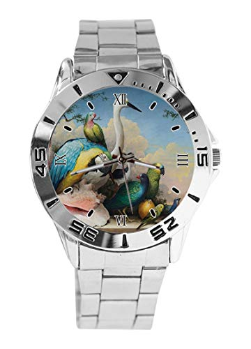 Gemälde Vögel Party Quarzuhr – Mode Damen Herren Analog Armbanduhr/Unisex Edelstahl Armbanduhr – Silber