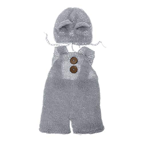 VIccoo Mohair Hut, geboren Baby Infant Fotografie Requisiten Boy Girl Outfits Süße Bärenhut und Overalls Set Weiche Mohair Bebe Fotokleidung Jumsuit - Hellgrau