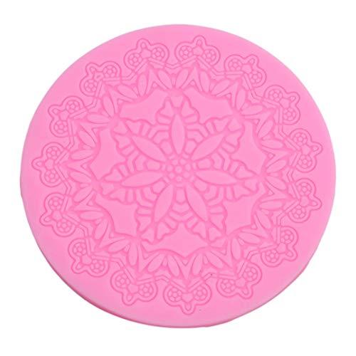 Weryffe Runde Crown Form Kuchen Silikonmatte Sugarcraft Fondant Kuchen Dekorieren Tools Küche Backen Silikon Spitze Formen (Rosa)