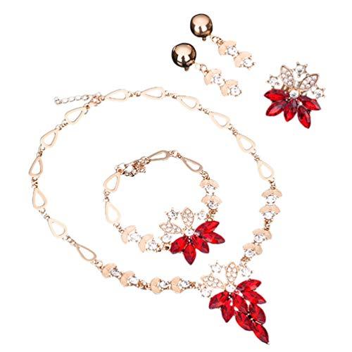 Amosfun 1 juego de 4 piezas de joyería de boda, collar, anillo,...